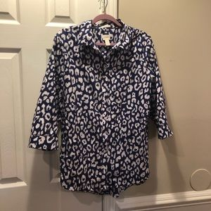 Chico's no Iron button Down animal print shirt XL